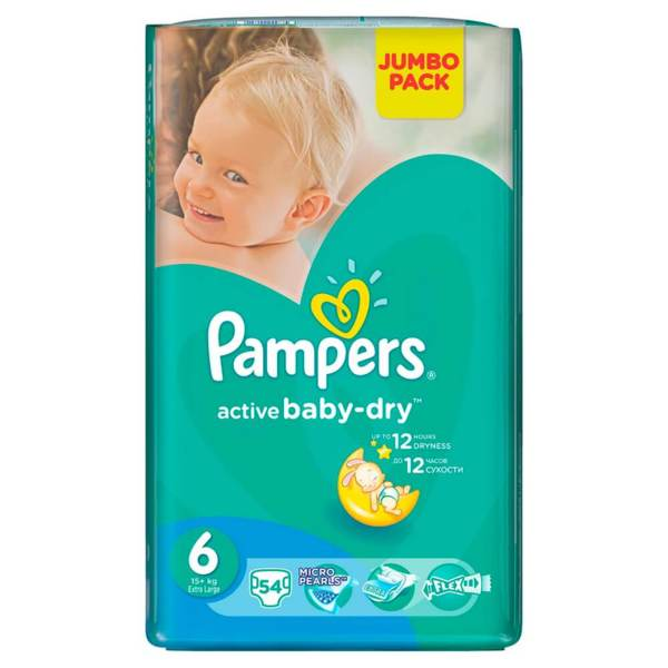 Pampers Пелени mамперси Active Baby Extra Large Jumbo р-р 6 /15+кг/ 54 бр.  0201502